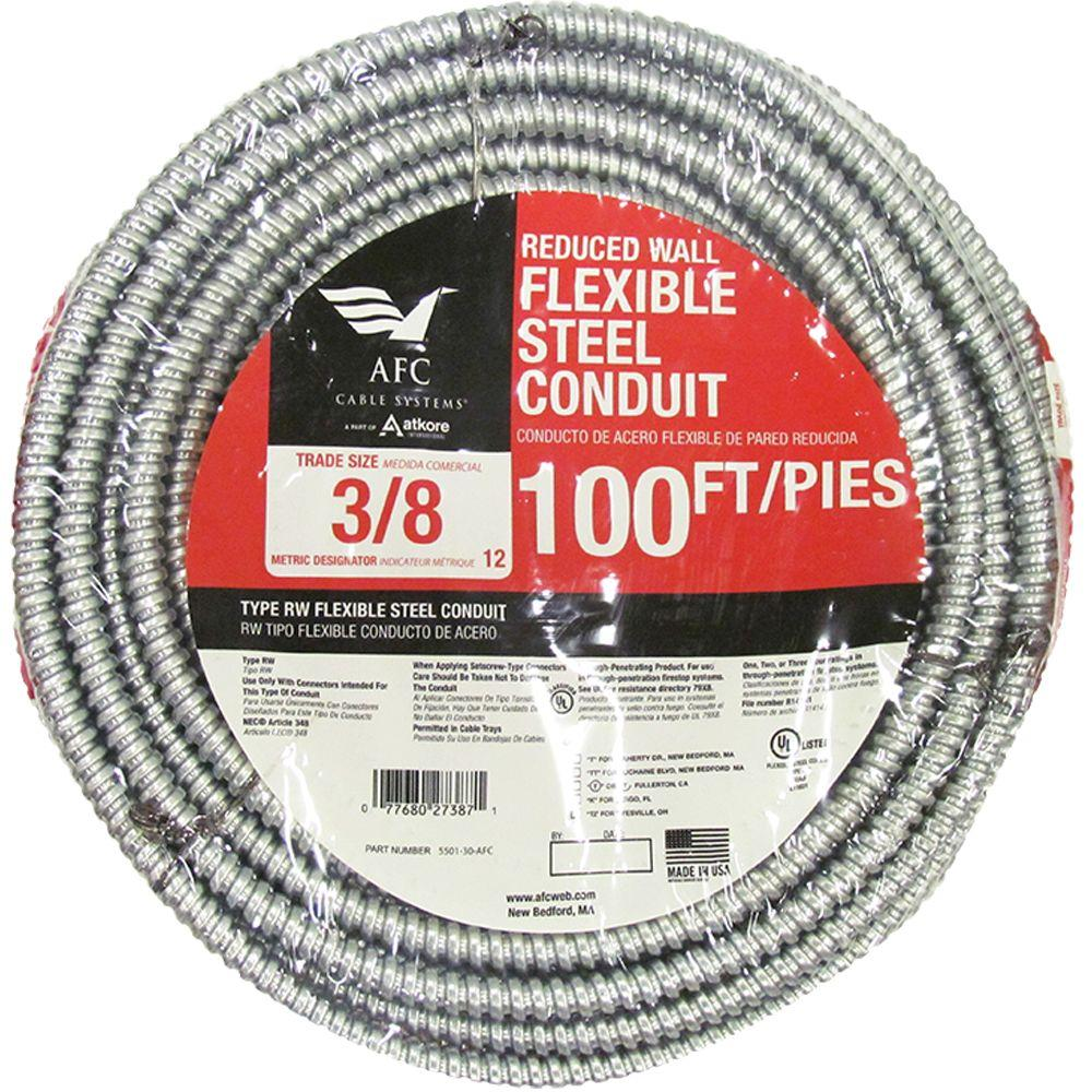 AFC Cable Systems 1//2 x 100 ft Flexible Steel Conduit