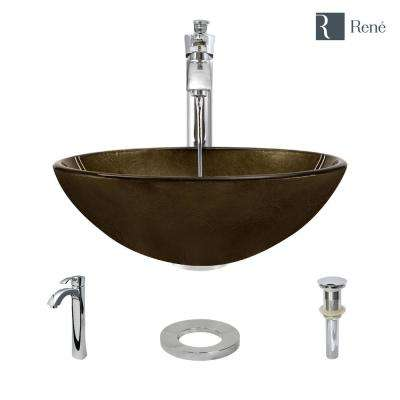 Glass Vessel Sink in Regal Bronze and Earth Tones with R9-7006 Faucet and Pop-Up Drain in Chrome
