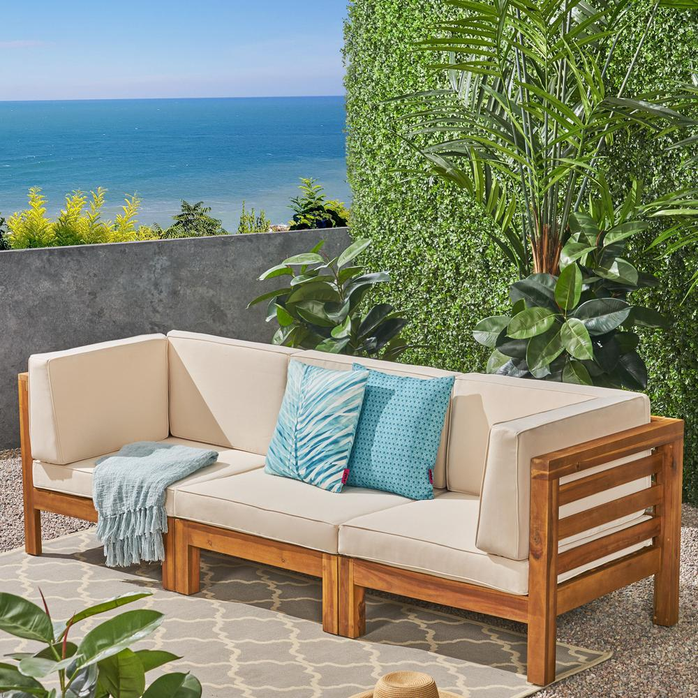 Noble House Jonah Teak Brown 3-Piece Wood Outdoor Sofa with Beige Cushions