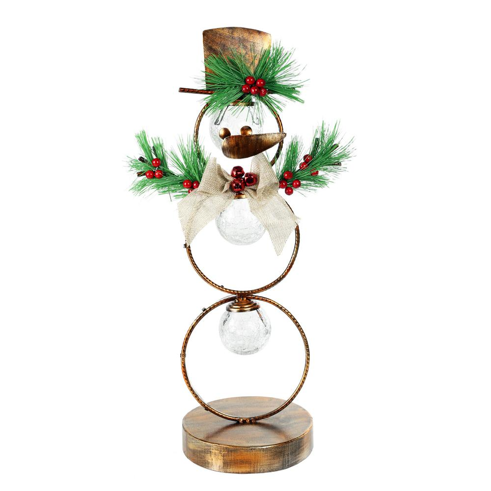 Alpine Corporation 20 in. Tall Christmas Snowman Metal Tabletop ...