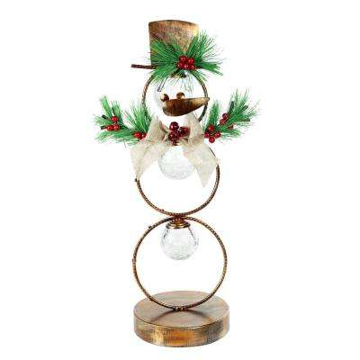 20 in. Tall Christmas Snowman Metal Tabletop Decor with Timer