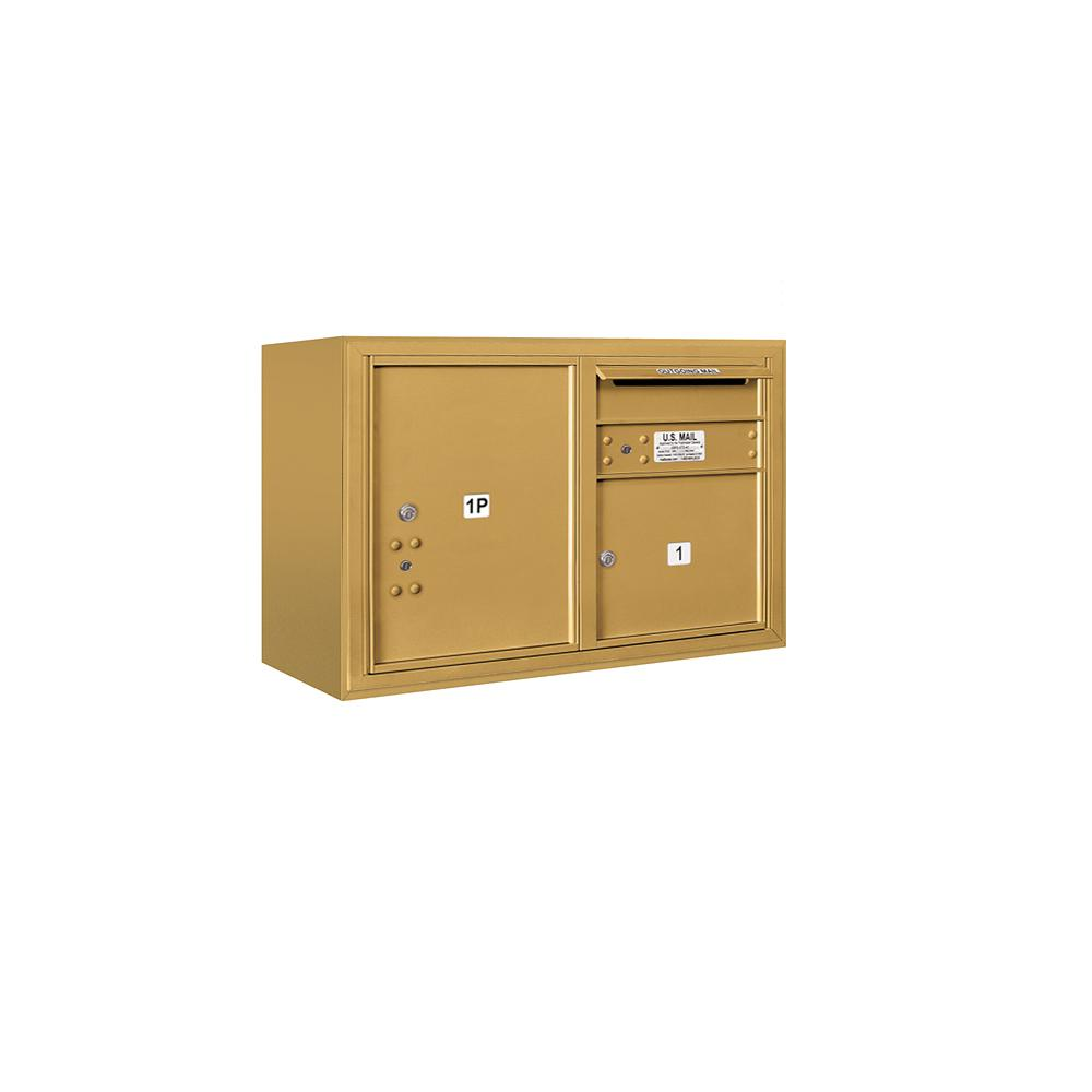 3800 Horizontal Series 1-Compartment with 1-Parcel Locker Surface Mount Mailbox