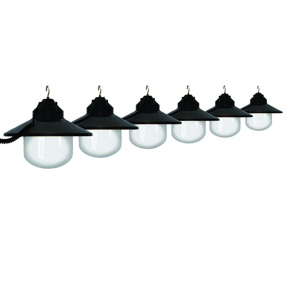 Polymer Products 6-Light Outdoor Black Shaded String Light Set