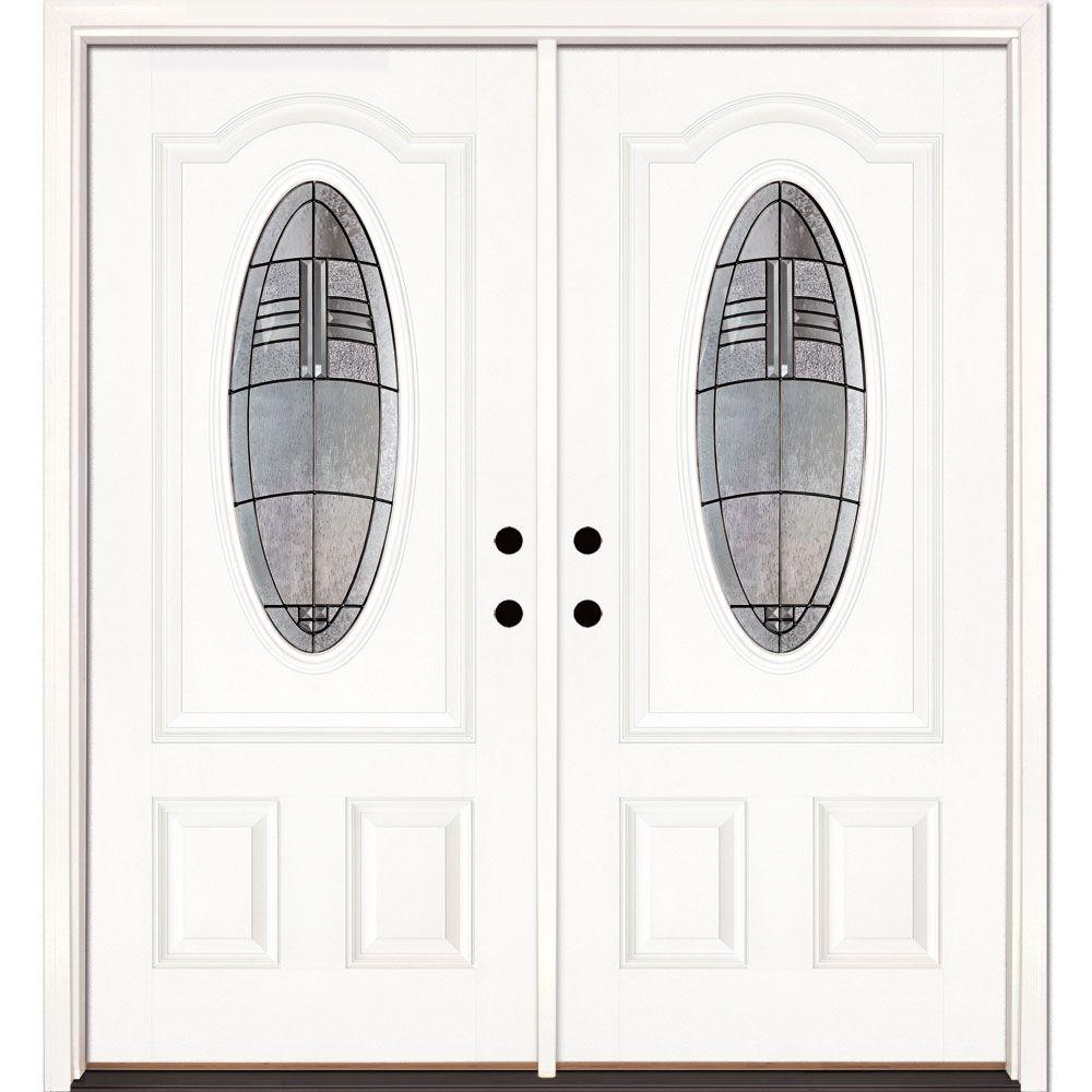 Feather River Doors 66 in. x 81.625 in. Rochester Patina 3/4 Oval Lite Unfinished Smooth Right-Hand Fiberglass Double Prehung Front Door