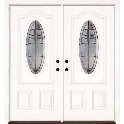 74 in. x 81.625 in. Rochester Patina 3/4 Oval Lite Unfinished Smooth Right-Hand Fiberglass Double Prehung Front Door