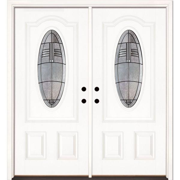 66 in. x 81.625 in. Rochester Patina 3/4 Oval Lite Unfinished Smooth Left-Hand Fiberglass Double Prehung Front Door