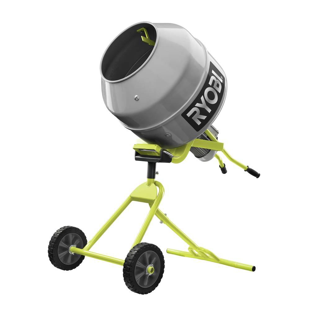 RYOBI 5.0 cu. ft. Portable Concrete Mixer RYOBI introduces the 5.0 cu. ft. Portable Concrete Mixer. The RYOBI Portable Cement Mixer is perfect for the job site. It has a 5 cu. ft. drum capacity, paired with a 1/2 HP motor and a tilting/pivoting drum make it more than capable. Integrated wheels and steel construction offer easy transport and more durability. Backed by the RYOBI 3-Year Manufacturer's Warranty, the Portable Cement Mixer includes a mixer barrel, stand assembly, mixing tines, wheels, assembly hardware, and an operator's manual.