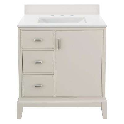 Shaelyn 31 in. W x 22 in. D Vanity in Rainy Day LH with Engineered Marble Vanity Top in Winter White with White Sink