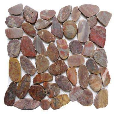 Red Sapphire 12 in. x 12 in. Sliced Natural Pebble Stone Floor and Wall Tile