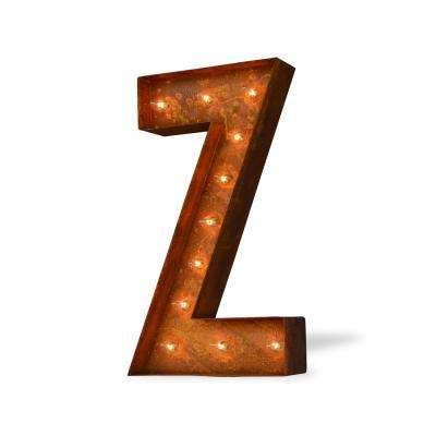 24 in. High Rusted Steel Alphabet Letter Z Plug-In Marquee Lights