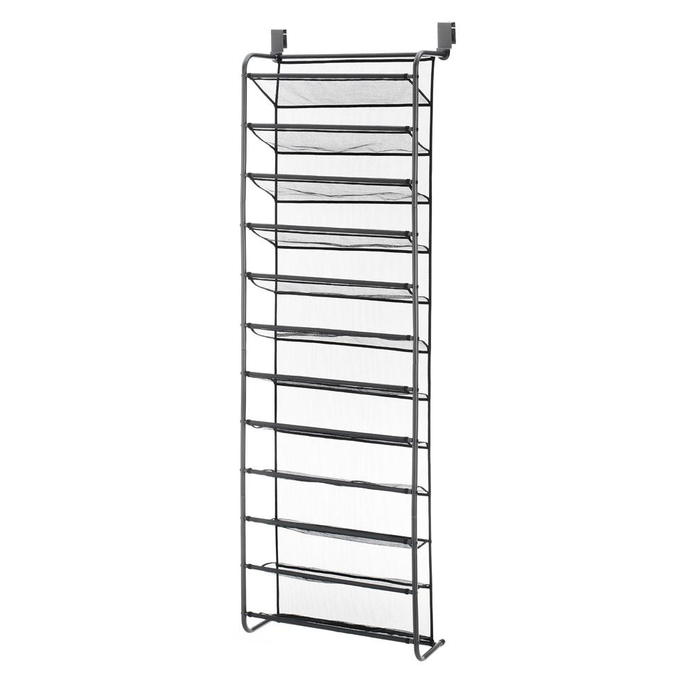 whitmor 36 pair gunmetal over the door shoe rack metal shoe organizer - Over The Door Shoe Rack