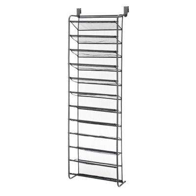 36-Pair Gunmetal Over the Door Shoe Rack Metal Shoe Organizer