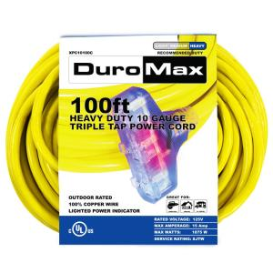 Duromax XPC10100C 100 ft. 10/3 Gauge Triple Tap Extension Power Cord by Duromax
