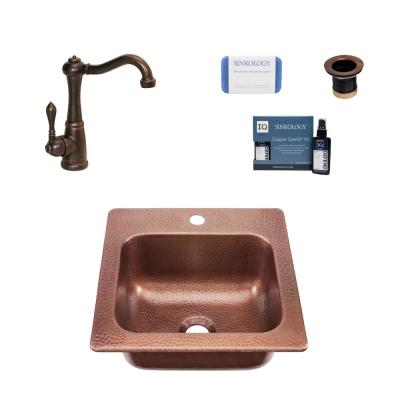 Seurat 18 Gauge Copper 15 in. 1-Hole Drop-in Bar Sink with Pfister Bronze Faucet and Drain