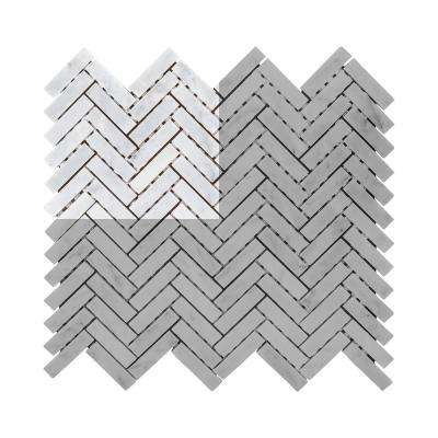 Jet Stream 3 in. x 6 in. x 8 mm Honed Marble Stone Mosaic Tile Sample