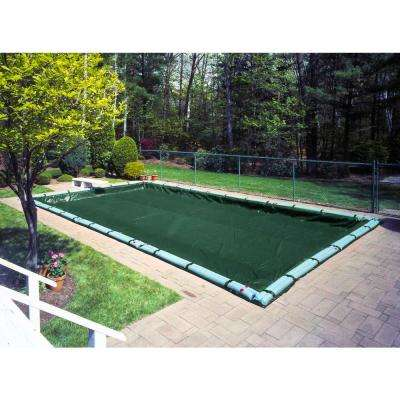 Heavy-Duty 12 ft. x 24 ft. Rectangular Grass Green In Ground Pool Winter Cover
