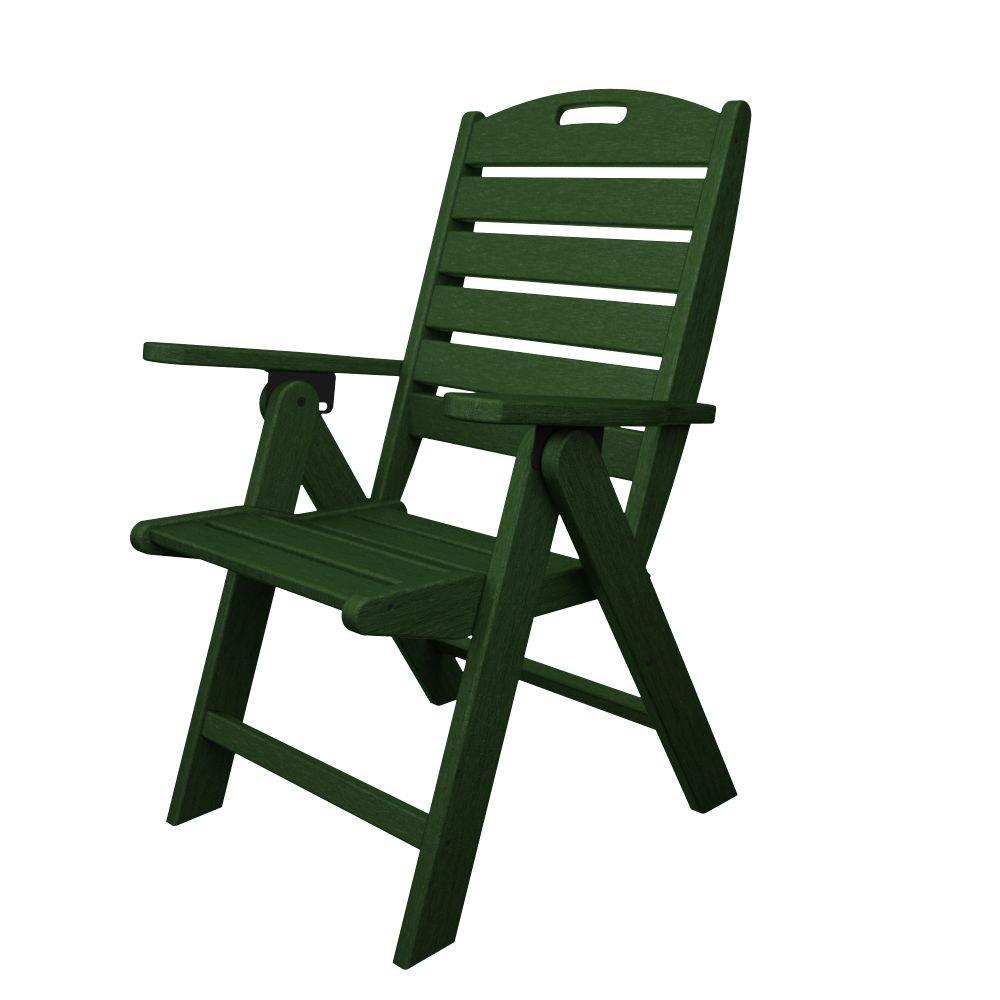polywood nautical highback green plastic outdoor patio dining chair rh homedepot com Adams High Back Chair high back plastic patio chairs white