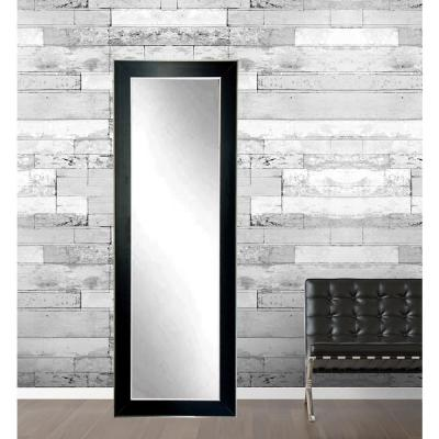 Modern Black with Silver Accent Full Length Framed Mirror