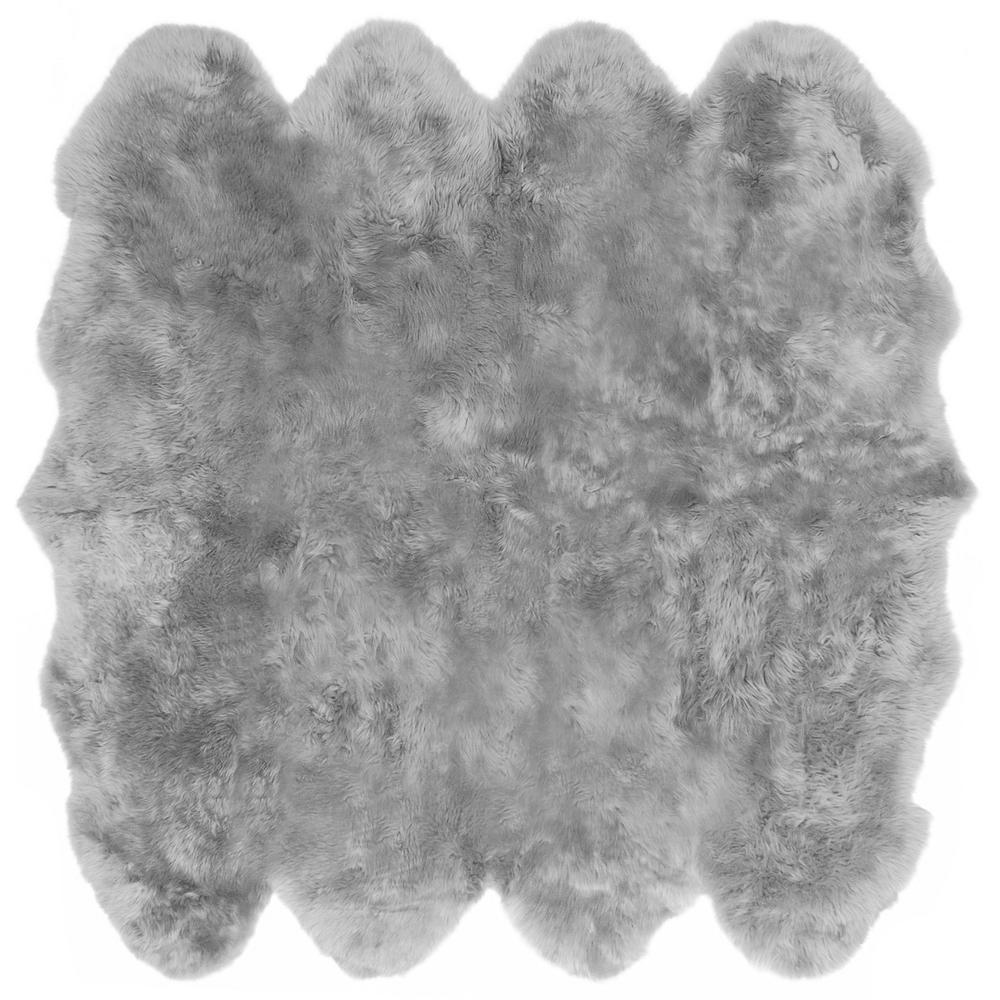 Sheepskin Rug Square: ECarpet Gallery Luxurious Sheepskin Grey 6 Ft. X 6 Ft