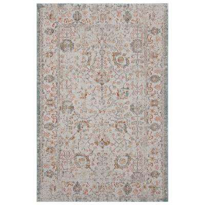 Antiquity Cream/Blush 7 ft. 9 in. x 9 ft. 9 in. Distressed Persian Bordered Indoor/Outdoor Area Rug