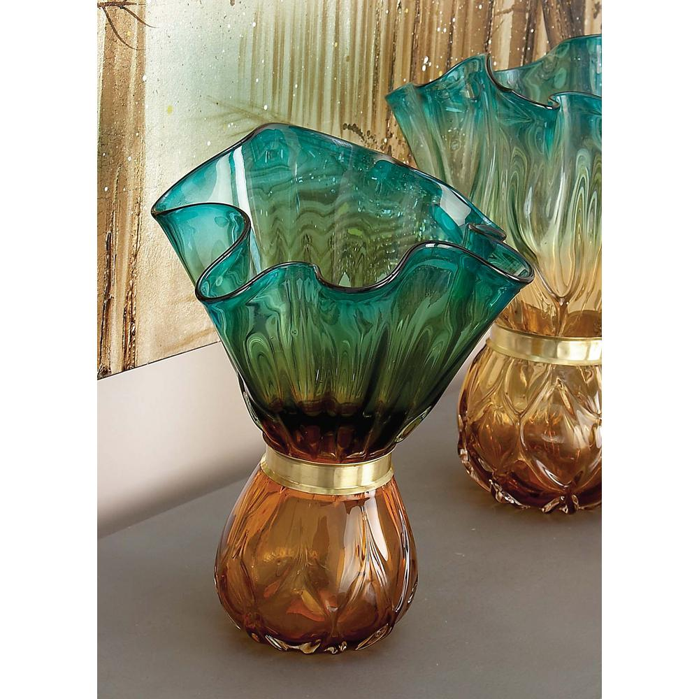 Coastal teal and amber glass decorative vase 58996 the home depot floridaeventfo Image collections