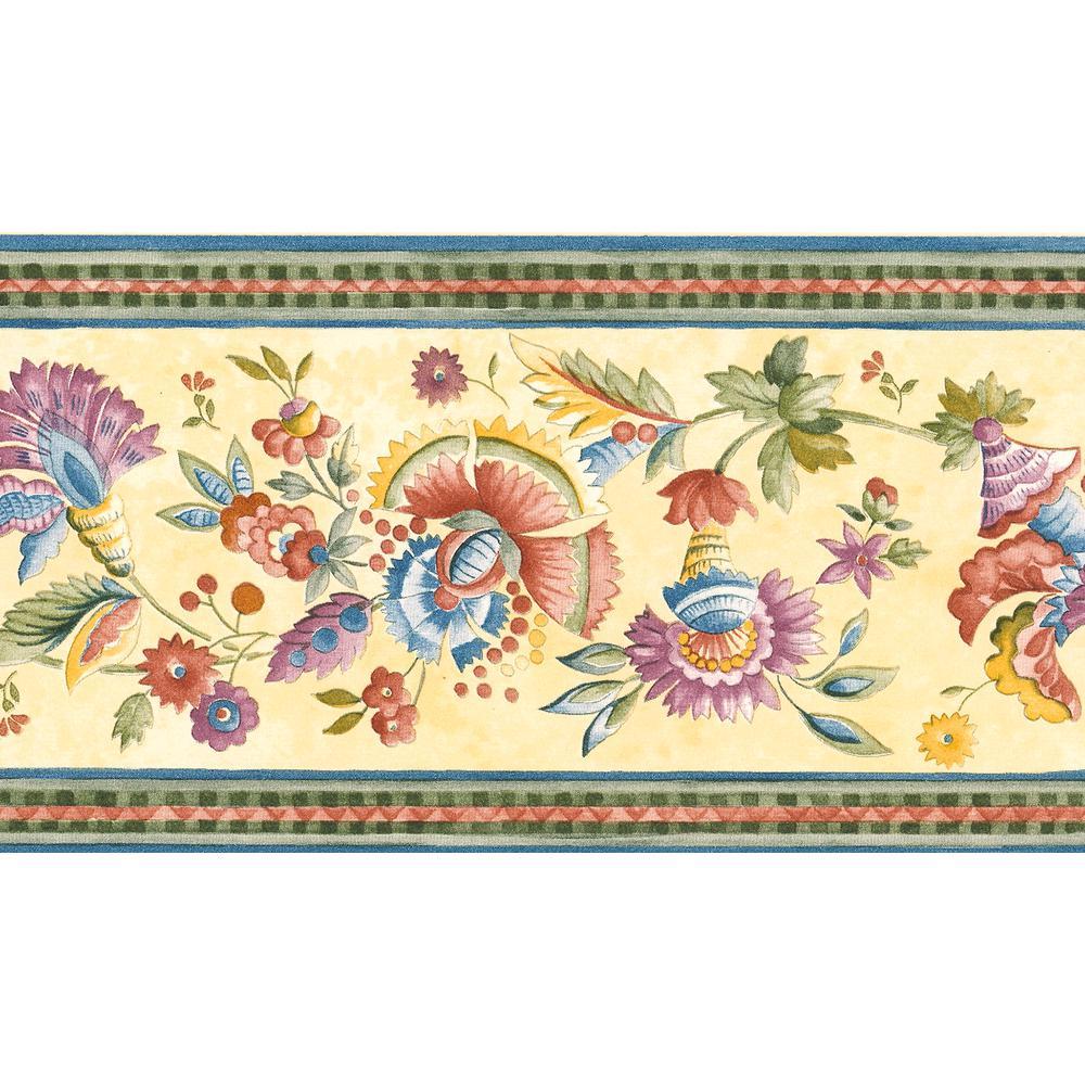 Jacobean Floral Wallpaper Border-499B7022 - The Home Depot