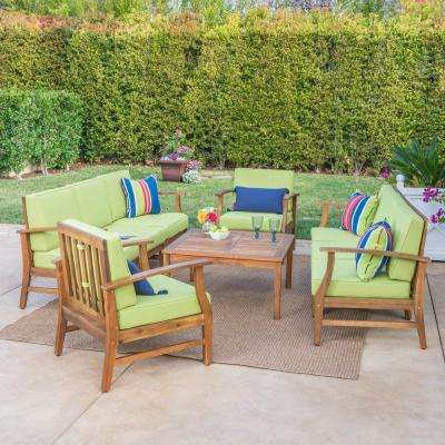 Perla Teak 9-Piece Wood Outdoor Sofa with Green Cushions