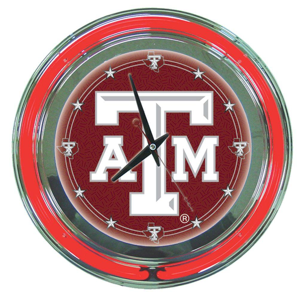 Trademark 14 in. Texas A&M University Neon Wall Clock