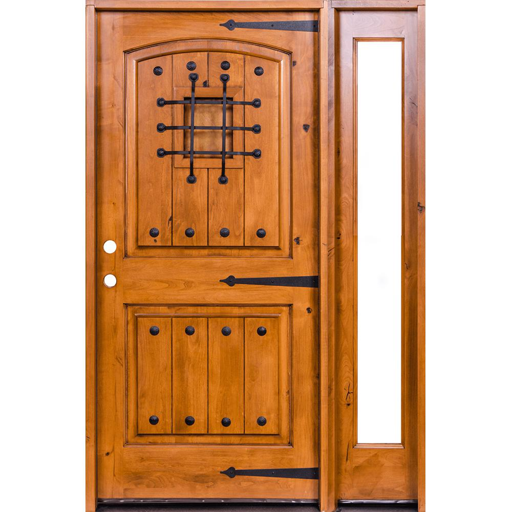 Krosswood Doors 46 in. x 80 in. Mediterranean Unfinished Knotty Alder Arch Left-Hand Right Full Sidelite Clear Glass Prehung Front Door