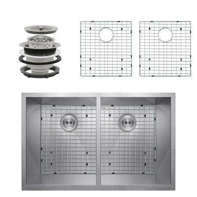 Handcrafted All-in-One Undermount Stainless Steel 33 in. x 22 in. x 9 in. Double Bowl Kitchen Sink w/ Tray and Drain
