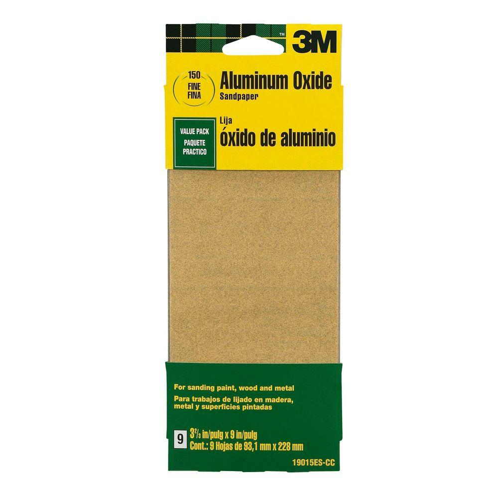 3M 3-2/3 in. x 9 in. 150-Grit Fine Aluminum Oxide Sand paper (9 Sheets-Pack)