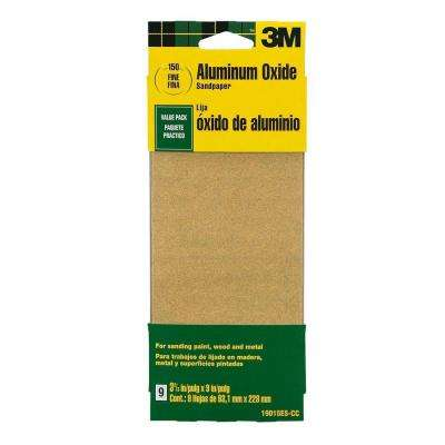 3-2/3 in. x 9 in. 150-Grit Fine Aluminum Oxide Sand paper (9 Sheets-Pack)