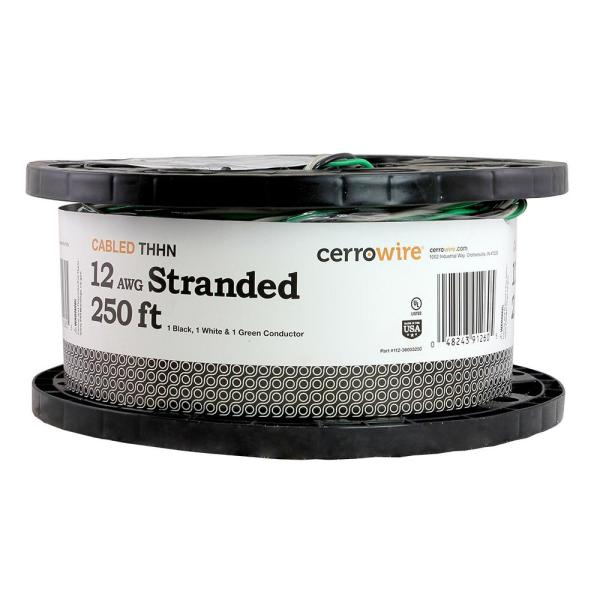 250 ft. 12-3 Black, White and Green Cabled Stranded THHN Cable