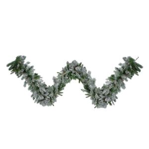 9 ft. x 14 in. Unlit Flocked Rose Mary Emerald Angel Pine Artificial Christmas Garland