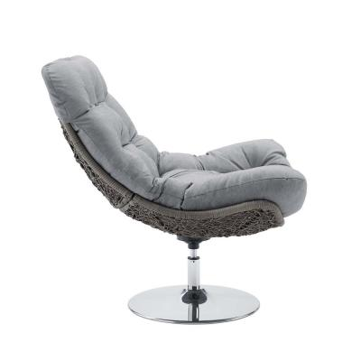 Brighton Swivel Wicker Outdoor Lounge Chair with Gray Cushions