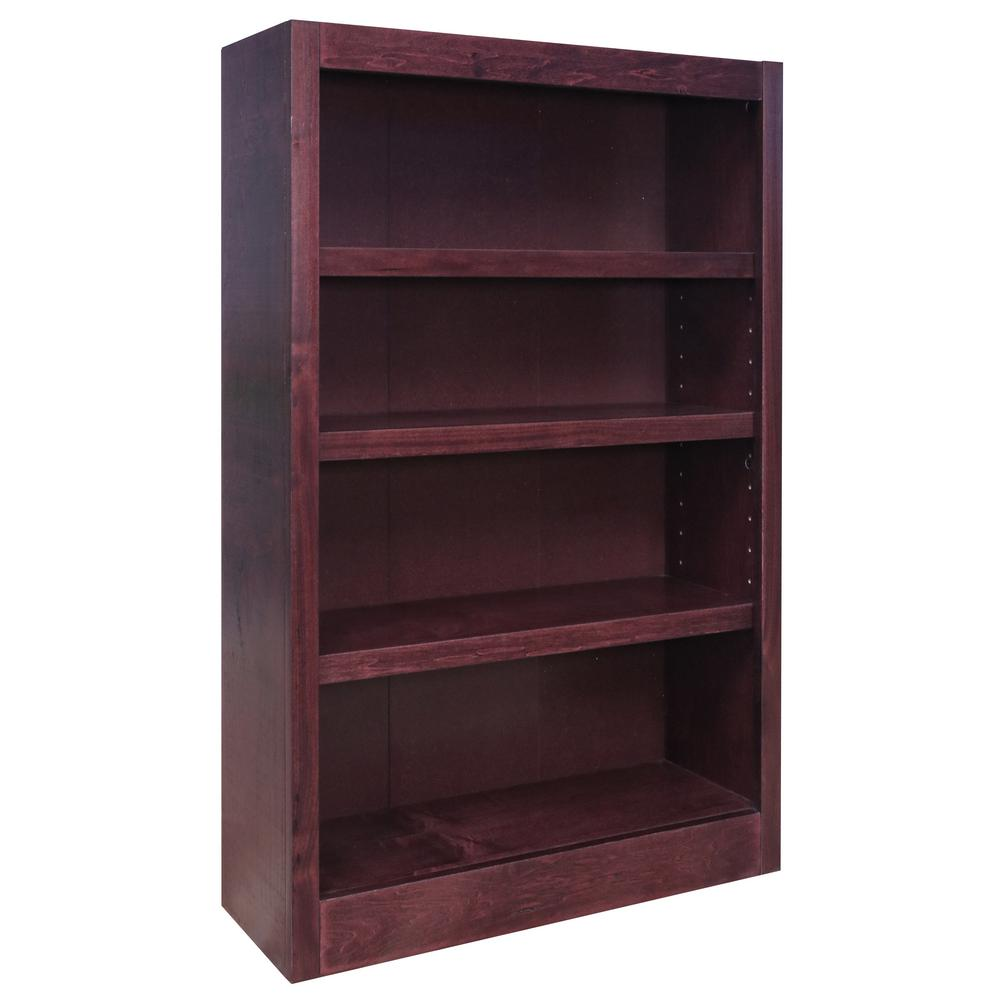 48 in. Cherry Wood 4-shelf Standard Bookcase with Adjustable Shelves