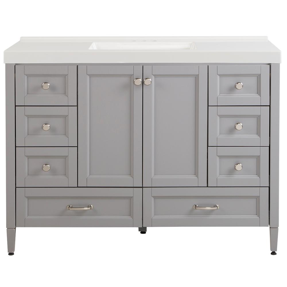Home Decorators Collection Claxby 49 in. W x 22 in. D Bath Vanity in Sterling Gray with Cultured Marble Vanity Top in White with White Sink