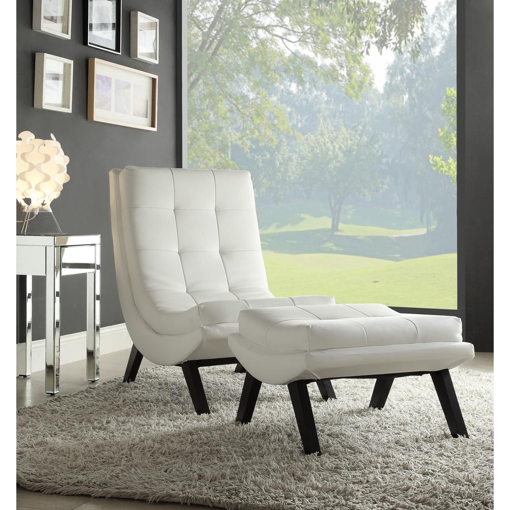 OSP Home Furnishings Tustin White Lounge Chair and Ottoman Set