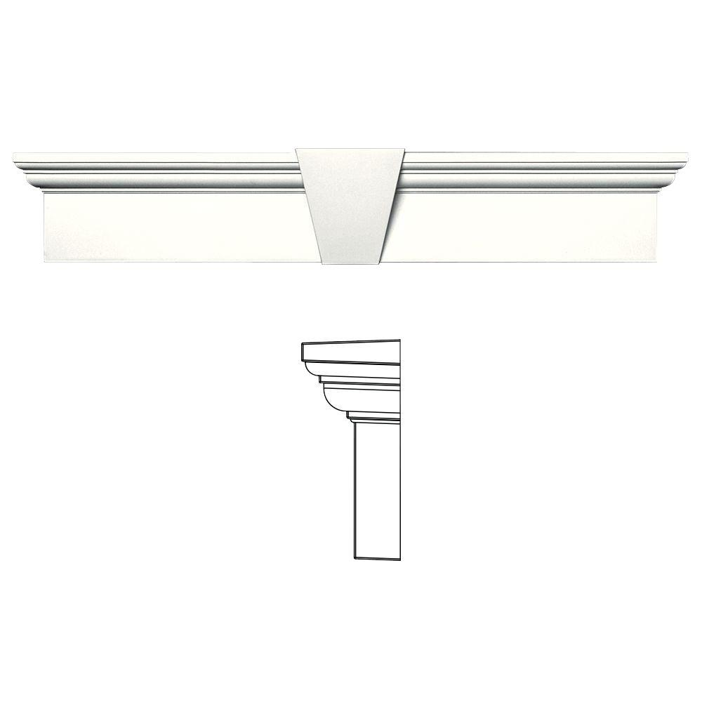 6 in. x 33-5/8 in. Flat Panel Window Header with Keystone