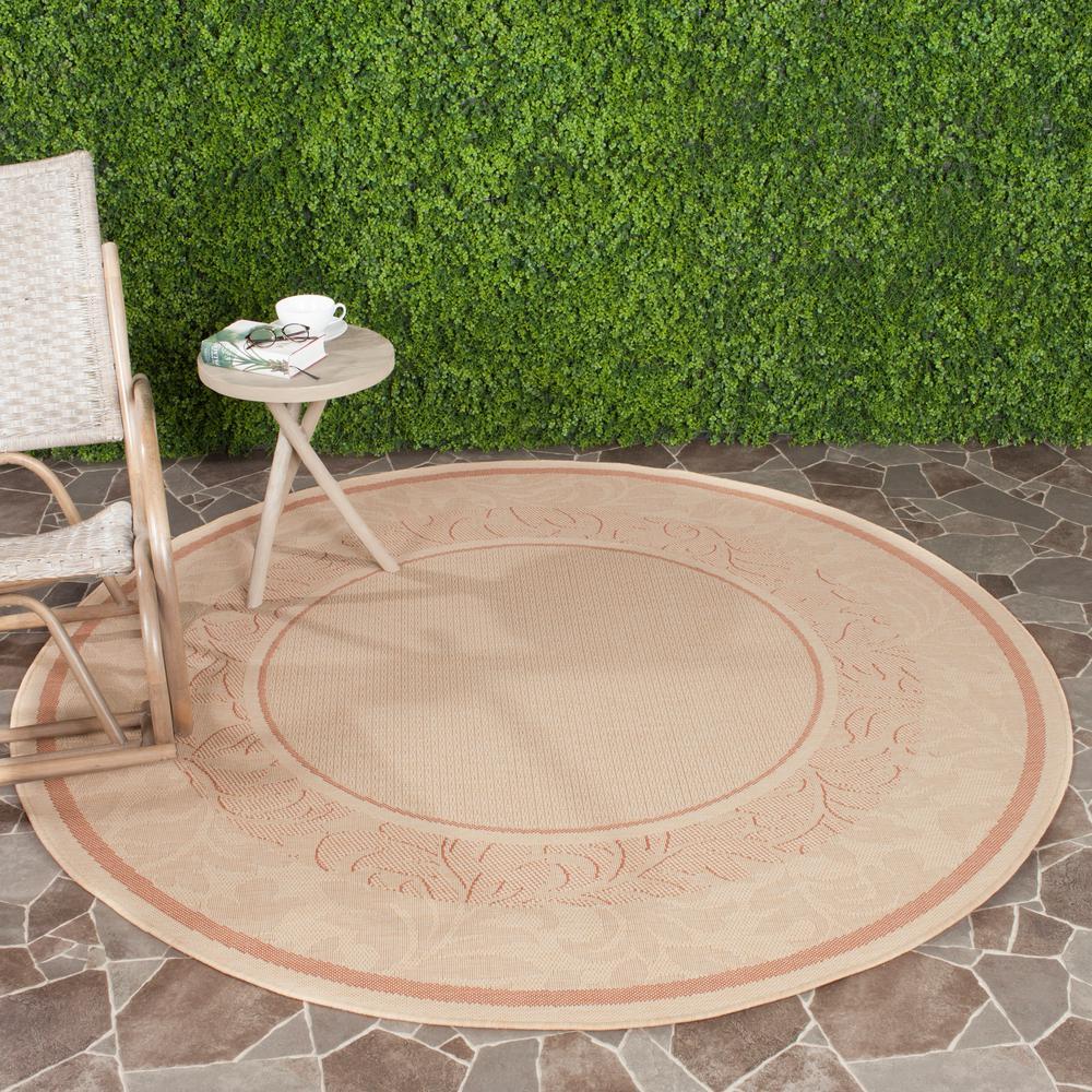 Safavieh Courtyard Natural/Terracotta 5 ft. 3 in. x 5 ft. 3 in. Indoor/Outdoor Round Area Rug