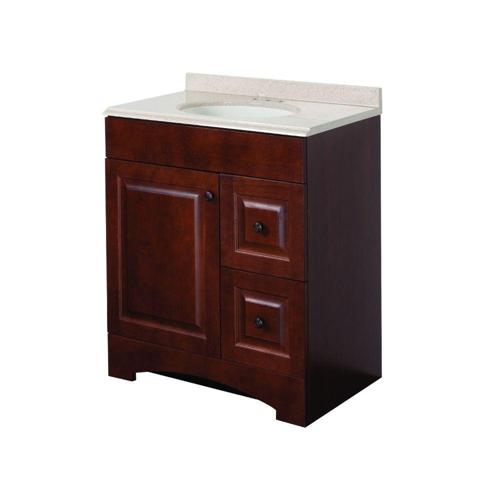 Glacier Bay Summit 30 in. W x 19 in. D Bathroom Vanity in Auburn with Colorpoint Vanity Top in Maui with White Sink