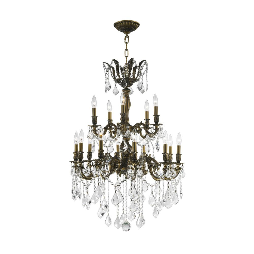 Worldwide Lighting Versailles 15 Light Antique Bronze Chandelier With Clear Crystal