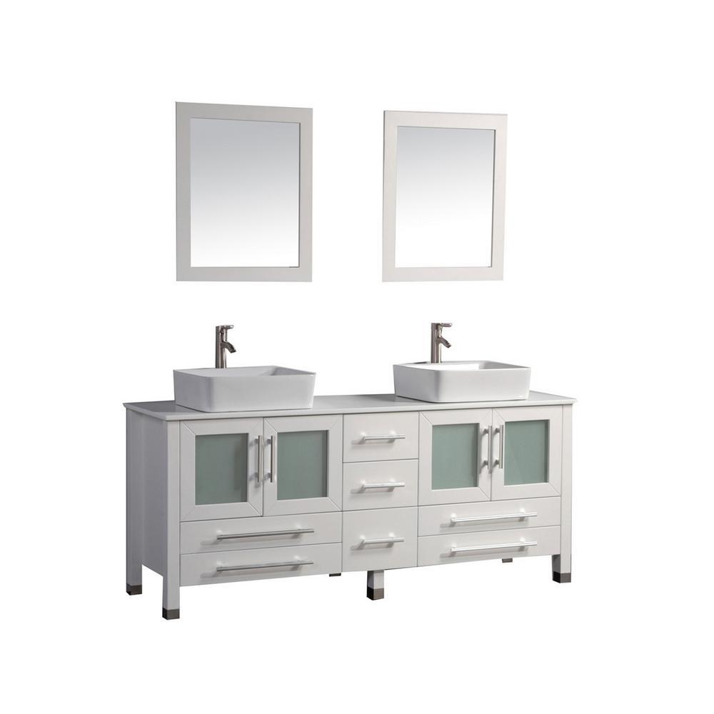 Malta 71 in. W x 20.5 in. D x 36 in. H Vanity in White with Microstone Vanity Top in White with White Basin and Mirrors