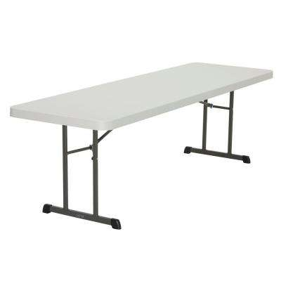 96 in. White Plastic Folding Banquet Table (Set of 18)