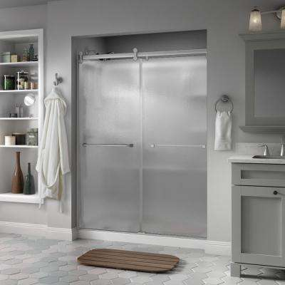 Everly 60 in. x 71 in. Semi-Frameless Contemporary Sliding Shower Door in Nickel with Rain Glass