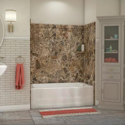 Elite 32 in. x 60 in. x 60 in. 9-Piece Easy Up Adhesive Tub Surround in Breccia Paradiso
