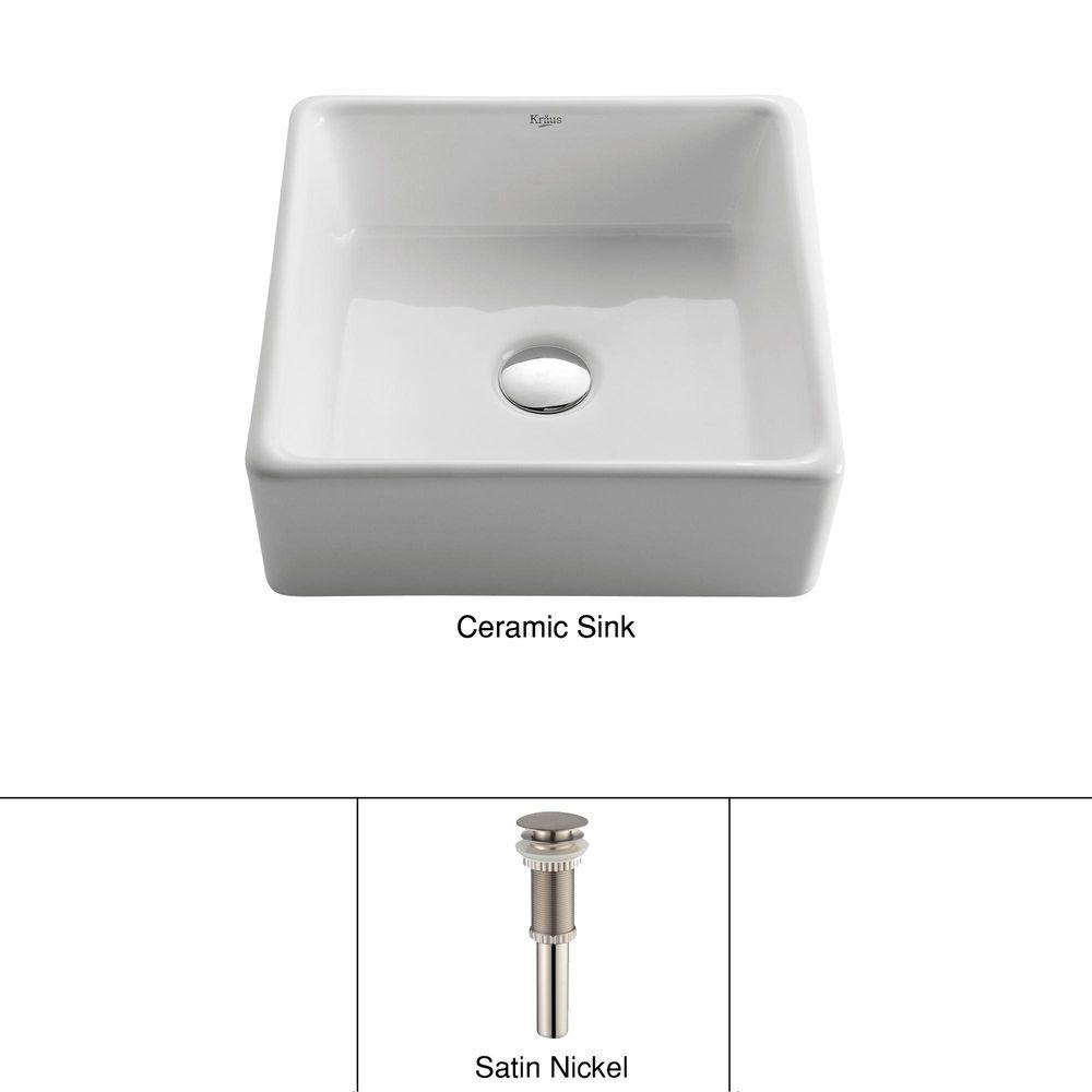 Square Ceramic Vessel Bathroom Sink in White with Pop Up Drain