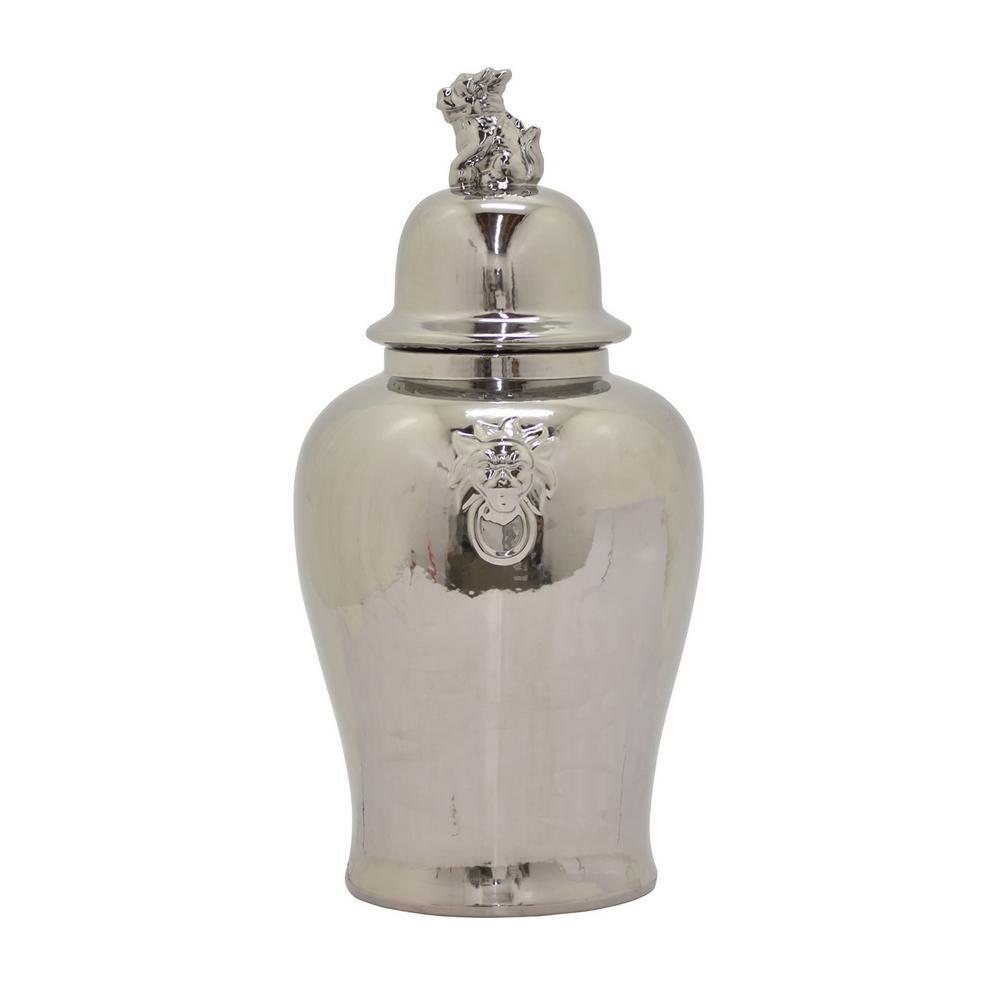 18 in. Silver Lidded Ceramic Jar