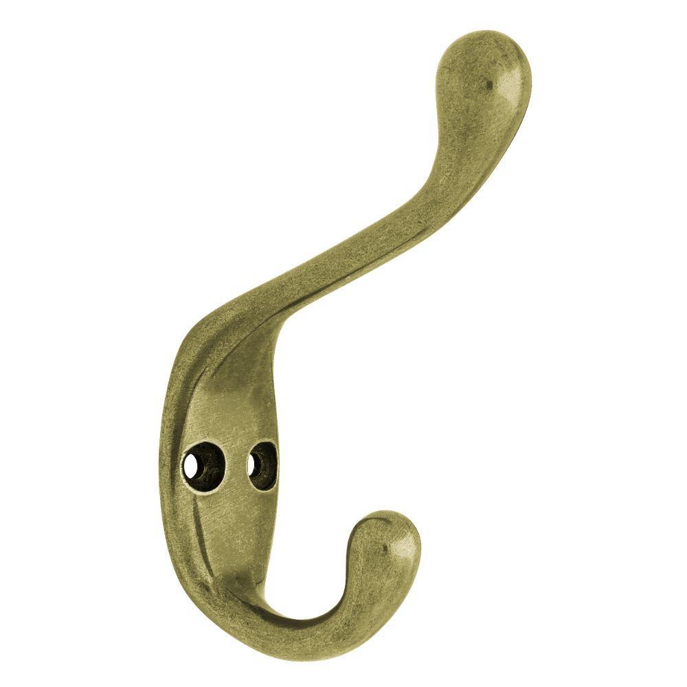 3-1/2 in. Antique Brass Heavy Duty Coat Hook