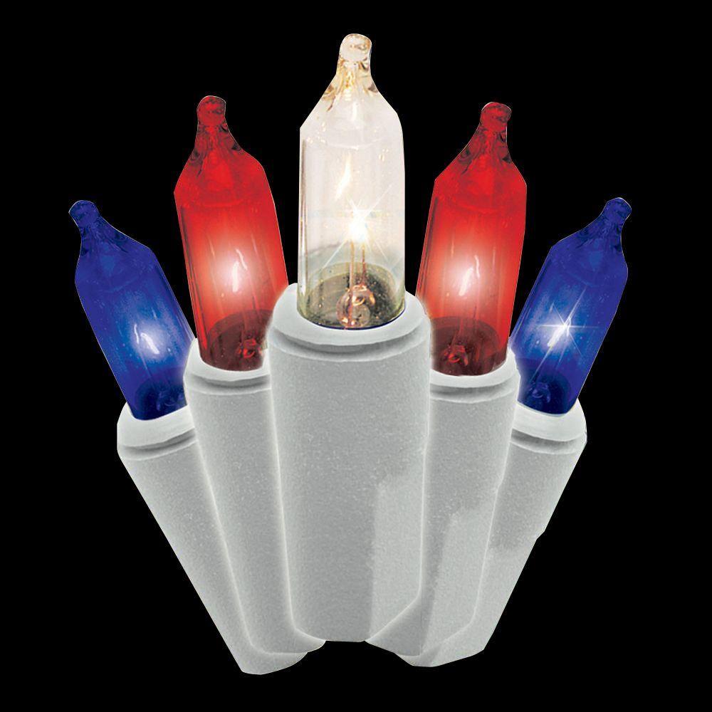100 Light Patriotic Red White Blue Set Of 2
